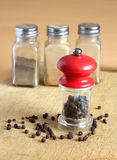 Pepper, pepper mill and spice jars on kitchen desk closeup Stock Photo
