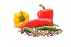 Pepper and pepper spice on white background. Pepper and pepper spice on white Stock Photo