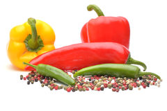 Pepper and pepper spice on white background. Pepper and pepper spice on white Royalty Free Stock Images