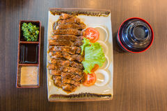 Pepper pork steak, Japanese Teppanyaki Style, top view Royalty Free Stock Photo