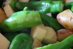 Pepper and potatoes. Raw pepper and potatoes Royalty Free Stock Photos