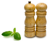 Pepper pots and salt pots with sweet basil royalty free stock image