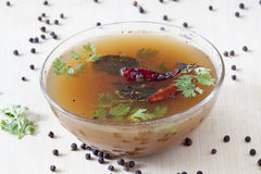 Pepper Rasam from South India. Pepper Rasam from South India which is very common and popular and can be served with steamed rice and ghee Royalty Free Stock Photos