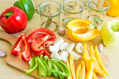 Pepper ready to canning. Few types of pepper ready to canning royalty free stock image