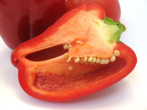 Pepper. Red peppers in the section on white background Royalty Free Stock Images