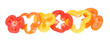 Pepper rings in yellow red orange colors Royalty Free Stock Photo