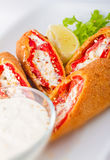 Pepper Rolls with Cheese Stock Photo