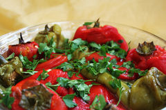Pepper salad. Closeup pepper salad with parsley Royalty Free Stock Image