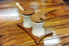 Pepper And Salt Container. Close Up Of Pepper And Salt Container royalty free stock photo