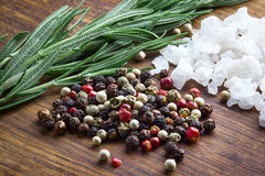 Pepper, salt and rosemary. On wooden background royalty free stock photography