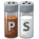 Pepper and salt shaker for kitchen. Vector Royalty Free Stock Image