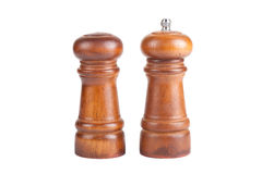 Pepper and salt shaker made ​​of wood isolated on white back Stock Images