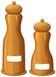 Pepper and salt shakers made of wood Stock Photos