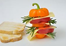 Pepper sandwich with cheese, salami and toast Stock Photo