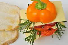 Pepper sandwich with cheese, salami and toast Stock Image