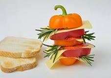 Pepper Sandwich mit Käse, Salami und Toast Stockfoto