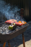 Pepper and sausage grill Stock Photo