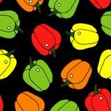 Pepper seamless pattern. Black background. Vegetable royalty free illustration