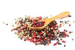 Pepper seasoning mix in wooden spoon Stock Photography