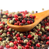 Pepper seasoning mix in wooden spoon Stock Photo