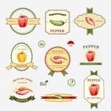 Pepper, set of label design Stock Images