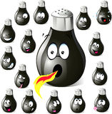 Pepper shaker cartoon with many expressions Stock Photography