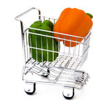Pepper in shopping cart. Peppers in shopping cart isolated Stock Images