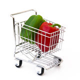 Pepper in shopping cart. Peppers in shopping cart isolated Stock Photos