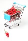 Pepper in shopping cart Stock Photos