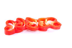 Pepper slices laying down. Stock Photos