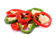Pepper slices on white background Royalty Free Stock Photography