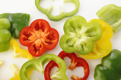Pepper slices on white background Royalty Free Stock Photos