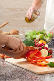 Pepper slicing Royalty Free Stock Images