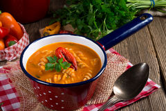 Pepper soup also full grain noodles Royalty Free Stock Image