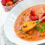 Pepper soup also full grain noodles Stock Image