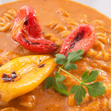 Pepper soup also full grain noodles Stock Photo