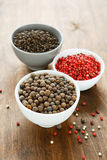 Pepper spices in bowls Royalty Free Stock Photo