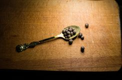 Pepper on a spoon stock photography