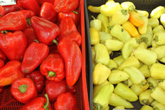 Pepper in a Stall in the market. Zoom in on green and red peppers in a stall in Riga, latvia Stock Photo