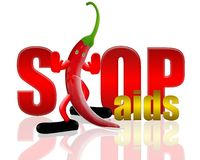 Pepper and stop aids. Safe sex concept,3d&computer generated Royalty Free Stock Image