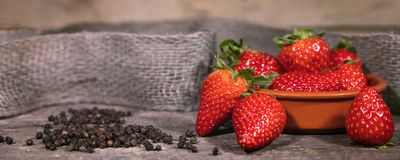 Pepper and Strawberries, Food trend with swavory Taste. Header Royalty Free Stock Photos