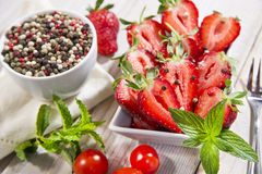 pepper and strawberry Stock Photo