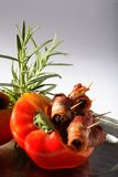 Pepper stuffed with bacon Royalty Free Stock Images