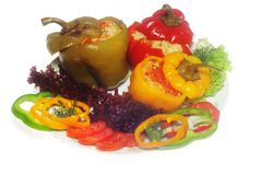 Pepper stuffed on the plate Royalty Free Stock Photography