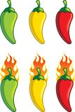 Pepper Temperature. Green, yellow and red hot peppers with or without flames Royalty Free Stock Photos
