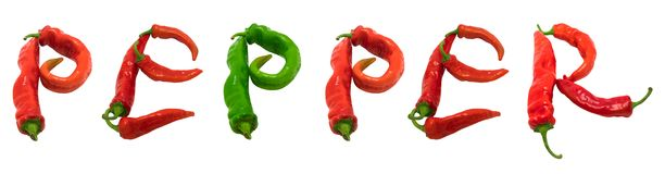PEPPER text composed of chili peppers Royalty Free Stock Photos