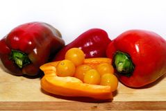 Pepper and tomates. Healthy vegetarian food. pepper and tomates Royalty Free Stock Photos