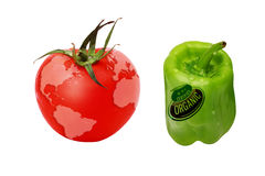 Pepper and tomato. Isolated on the white background Stock Photo