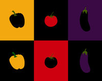 Pepper, tomato and eggplant Royalty Free Stock Photos