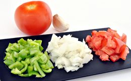 Pepper, tomato and onion Royalty Free Stock Photo